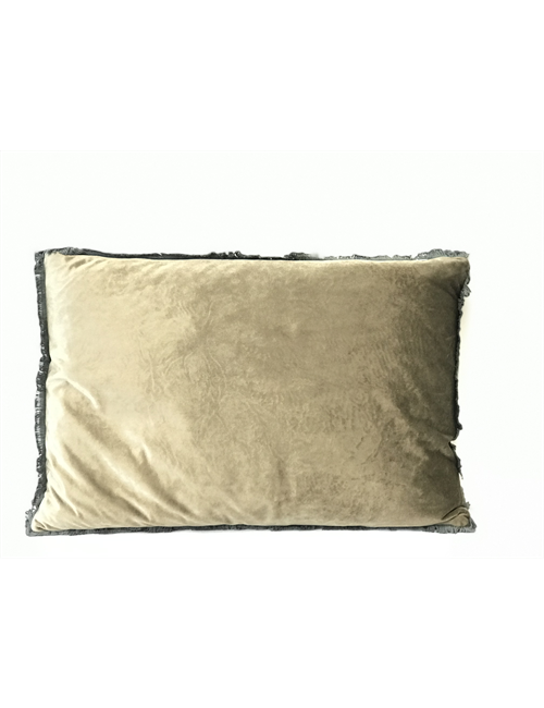 TAUPE VELVET FRINGED CUSHION - Home Decor-Cushions and