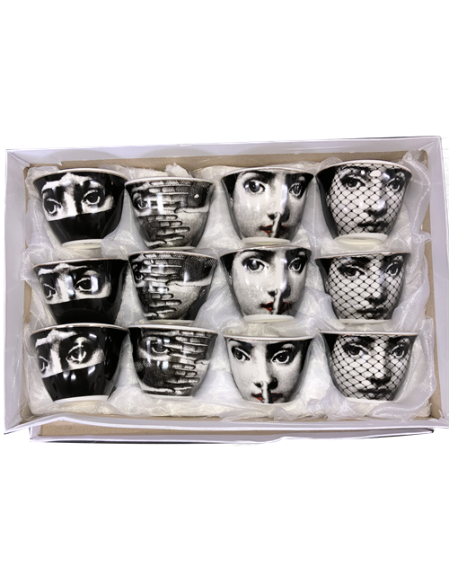 SET12 CHINESE TEA CUPS LADY FACE