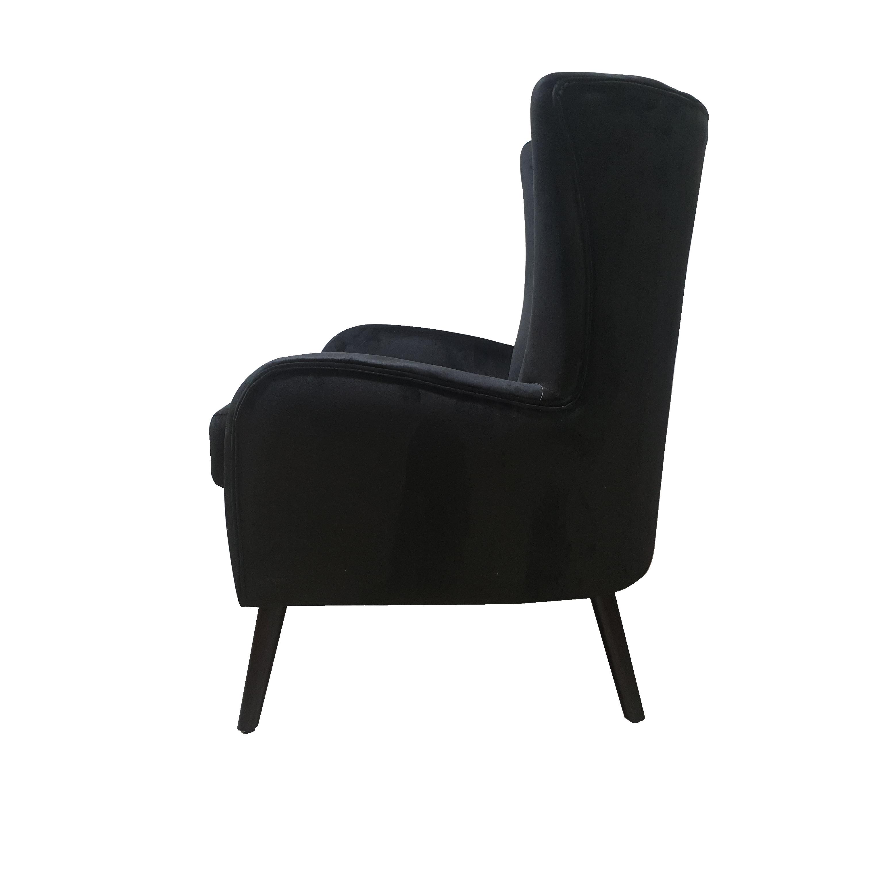 Black Velvet Austin Armchair Furniture Living Room Interior Warehouse Chair Velvet Black
