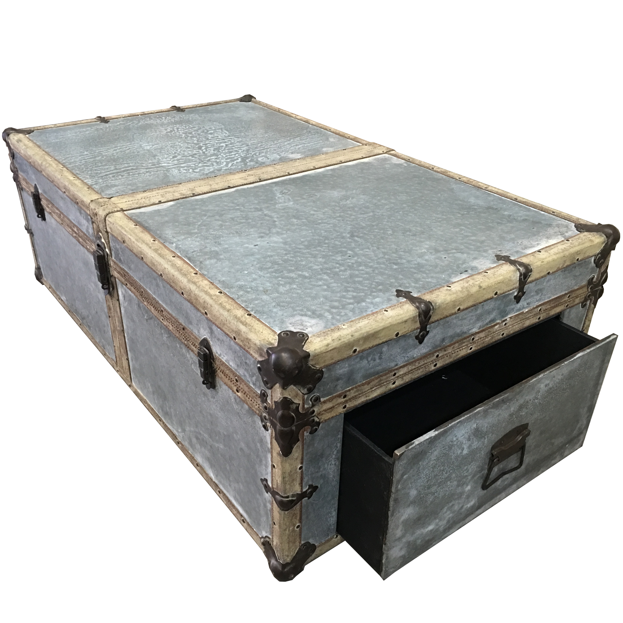 Aged Zinc Antique Trunk Coffee Table Furniture Living Room Interior Warehouse Coffee Table Metal Grey
