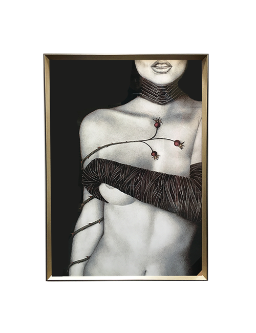 BLACK AND WHITE THORN NUDE ON ACRYLIC