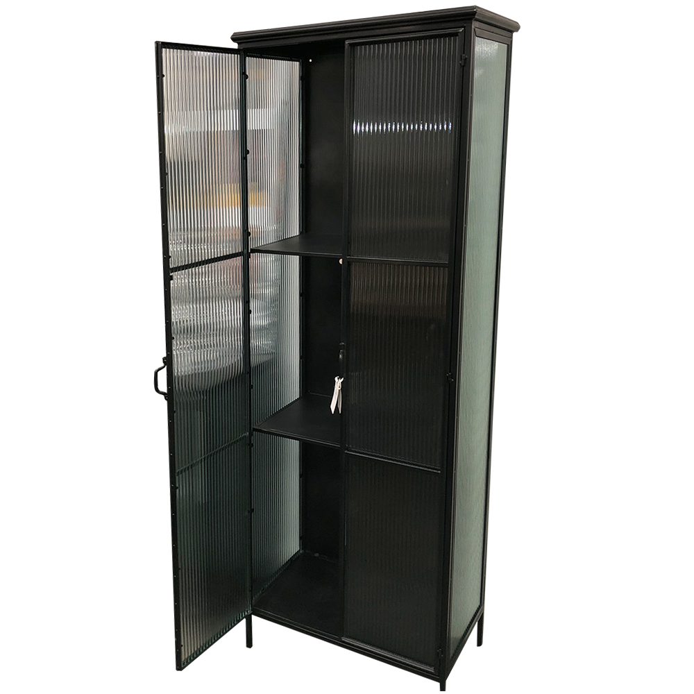 TALL METAL AND RIBBED GLASS CABINET - Furniture-Dining ...