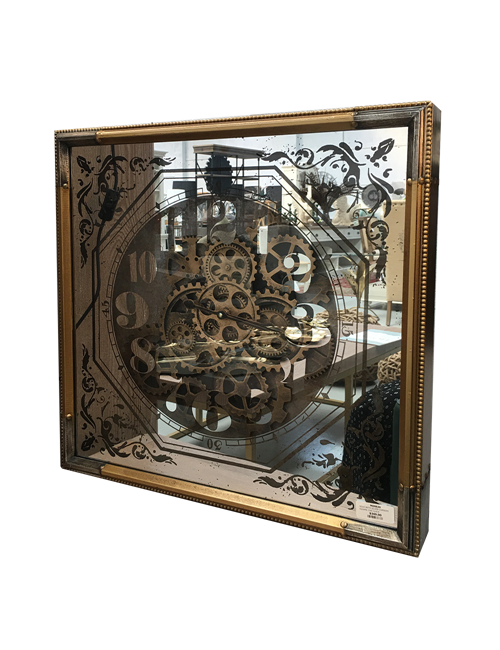 GOLD WITH SILVER CORNERS SQUARE COG CLOCK