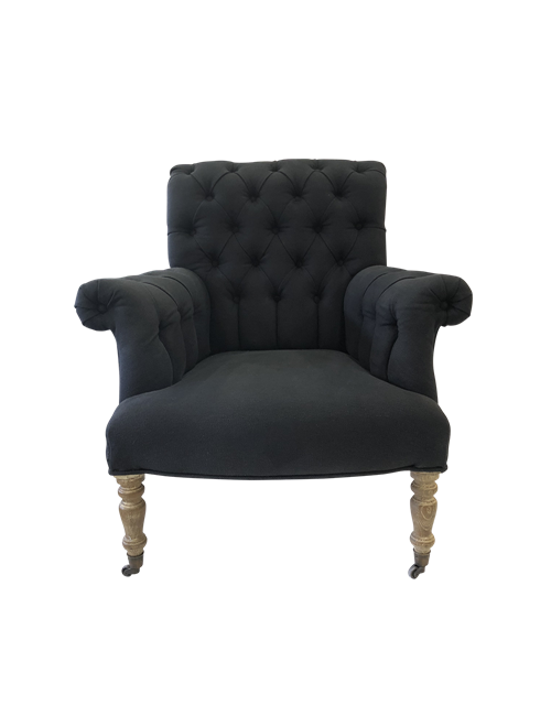 EVELYN BLACK BUTTONED CHAIR