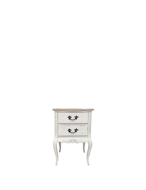 BEDSIDE TABLE ANTIQUE WHITE